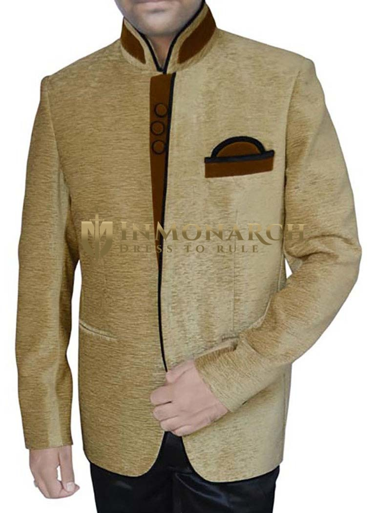 Mens Golden Velvet 3 Pc Jodhpuri Suit