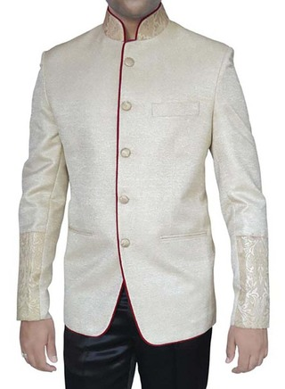Mens Cream Jute 2 Pc Mandarin Collar Suit