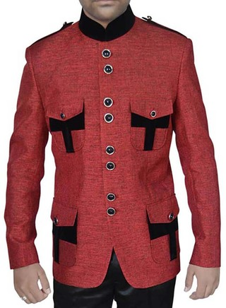 Mens Red Jute 2 Pc Jodhpuri Suit with Epaulettes