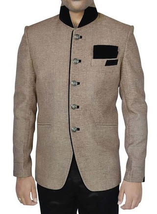 Mens Beige 3 Pc Jodhpuri Suit High Collar