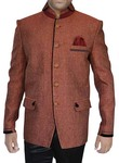 Mens Copper Jute 3 Pc Jodhpuri Suit Double Collar
