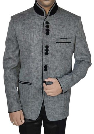 Mens Gray Jute 2 Pc Jodhpuri Suit Indian Wedding