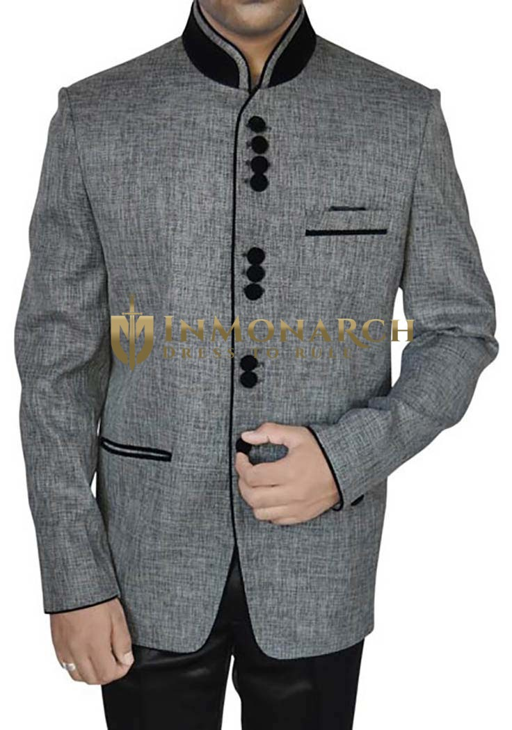 Significant Gray 2 Pc Jodhpuri Suit