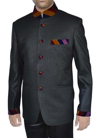 Mens Black Polyester 2 Pc Jodhpuri Suit Designer