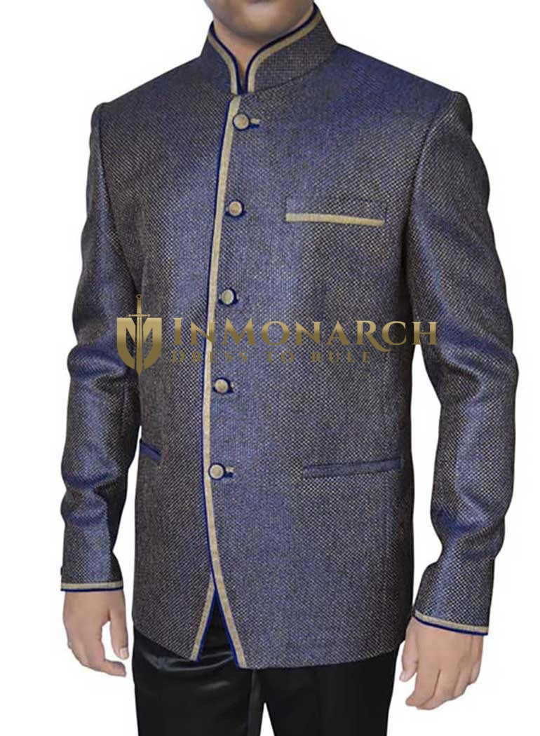 Mens Dark Navy Jute 2 Pc Jodhpuri Suit