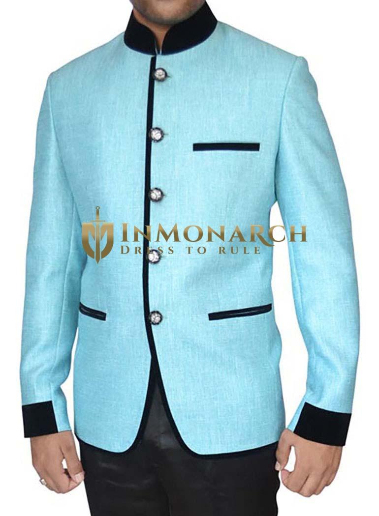 Stunning Jute Cyan 2 Pc Jodhpuri Suit