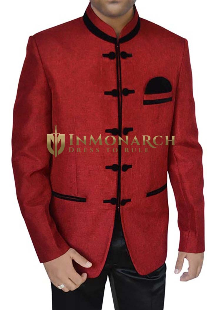 Royal Combination Red 3 Pc Jodhpuri Suit