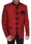 Mens Red Jute 3 Pc Jodhpuri Suit Traditional