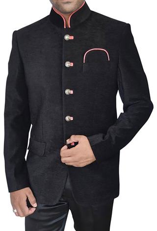 Mens Black Velvet 3 Pc Jodhpuri Suit