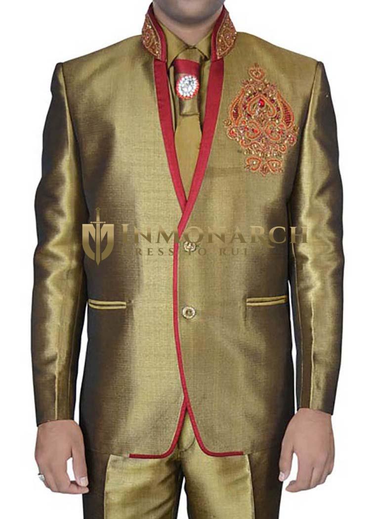 Mens Golden Linen Jute 5 pc Jodhpuri Suit Designer