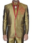 Designer Golden Linen Jute 5 pc Jodhpuri Suit