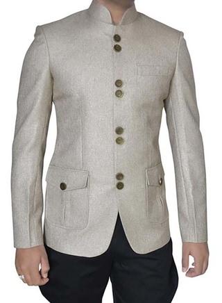 Classic Natural 2 Pc Jodhpuri Suit With Breeches