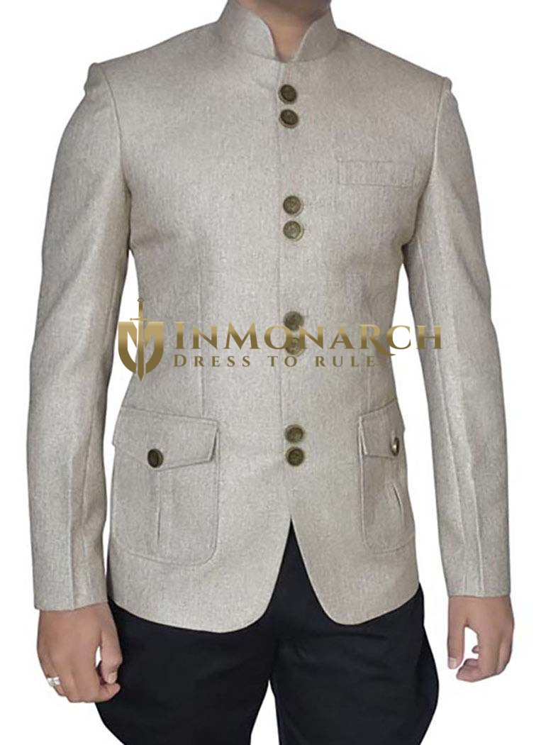Classic Natural 2 Pc Jodhpuri Suit With Breeches