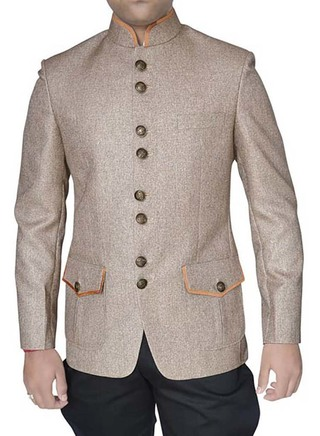 Mens Beige 2 Pc Jodhpuri Suit With Breeches Designer