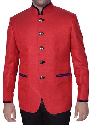 Classic Red Jute 2 Pc Jodhpuri Coat