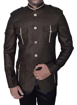 Royal Brown Jute 2 Pc Jodhpuri Coat