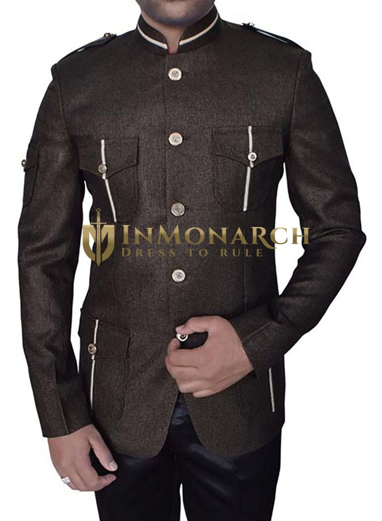 Mens Brown Jute 2 Pc Jodhpuri Coat Safari Style
