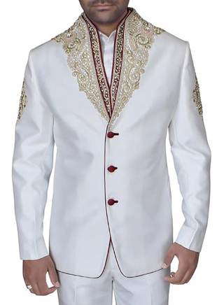 White Mens Jodhpuri suit with High neck hand embroidered Suit Jacket and vest