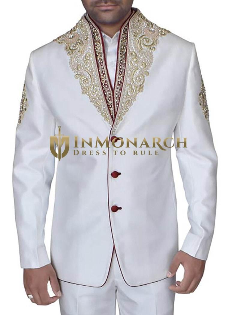 Designer Cream Polyester 2 Pc Jodhpuri Suit