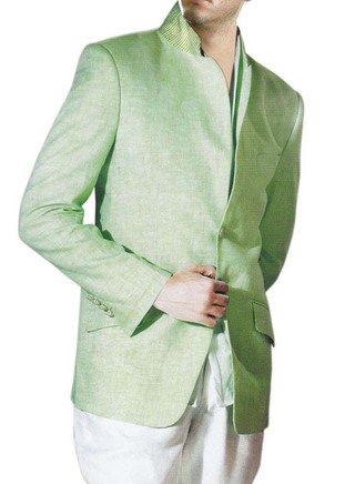 Mens Light green Linen 2 Pc Jodhpuri Suit