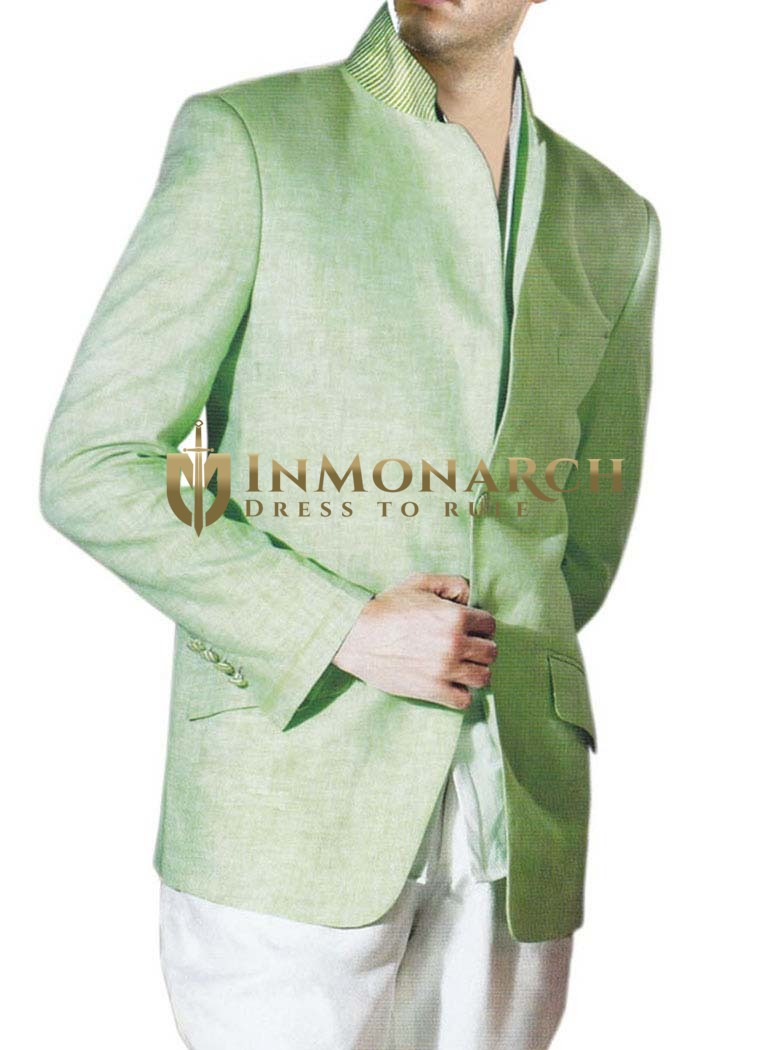 Green Linen Mens stylish Suit with unturned Notch Lapel two Button Jacket