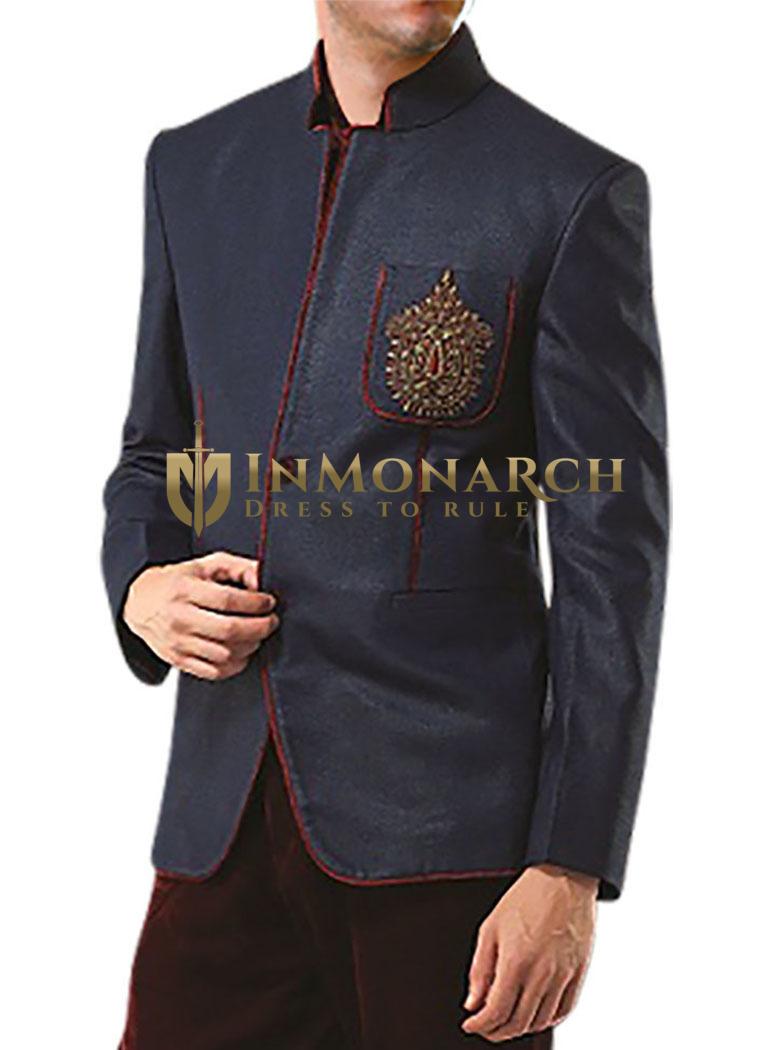 Mens Dark Navy 2 Pc Jodhpuri Coat With Breeches