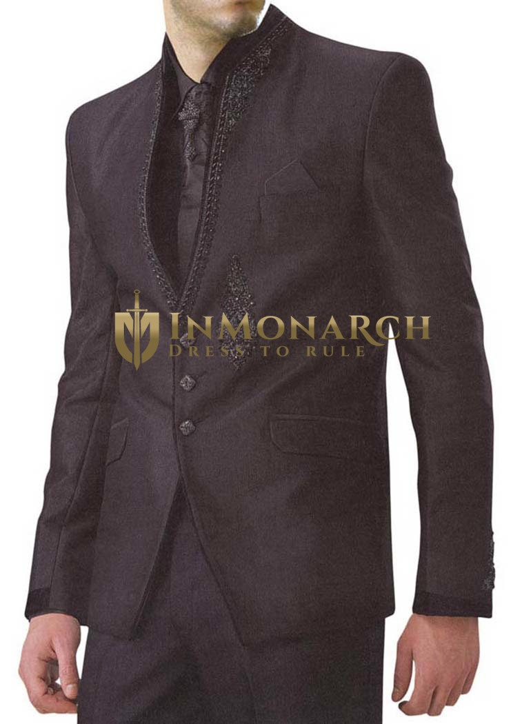 Mens Dark Brown 6 pc Jodhpuri Suit Hand Embroidery