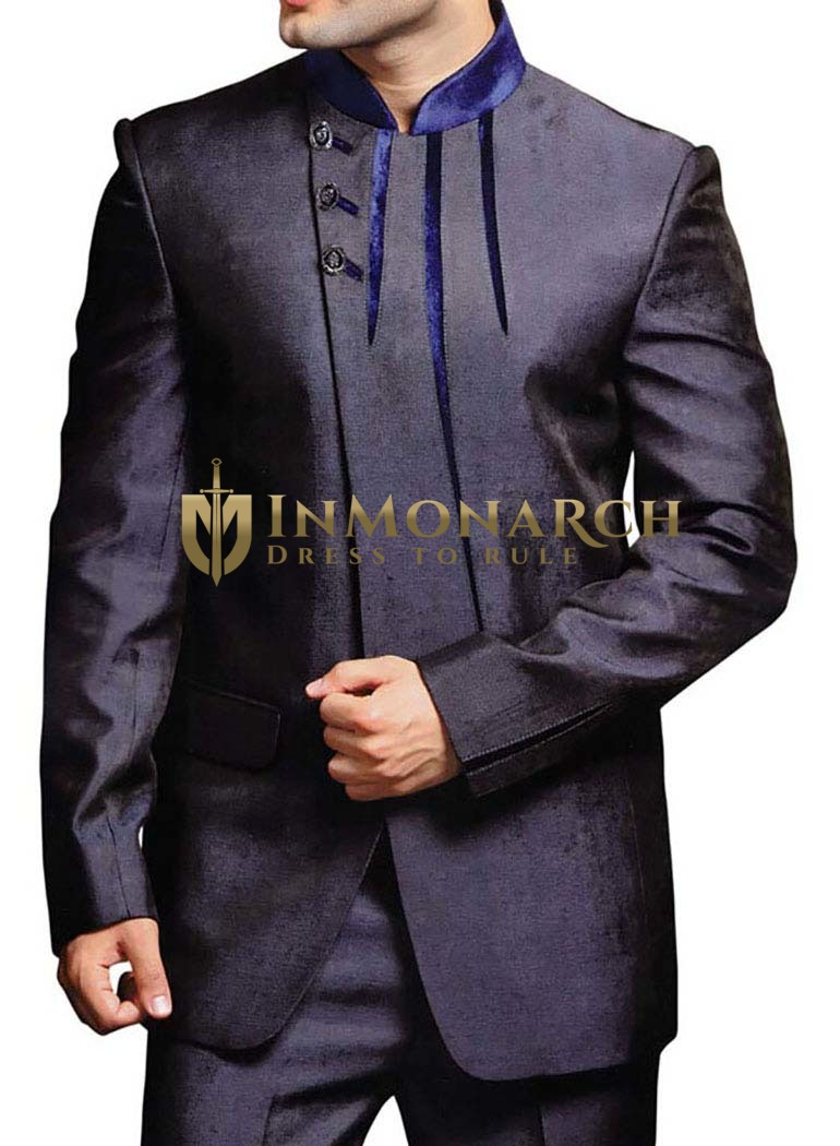 Mens Navy Blue Jodhpuri Suit with Trimming Work