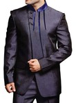 Mens Slate Gray 2 pc Jodhpuri Suit Trimming Work