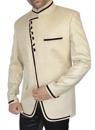 Mens Ivory Jute 2 Pc Jodhpuri Suit
