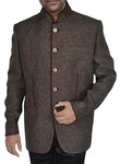 Mens Dark brown 2 Pc Jodhpuri suit Maroon Piping