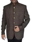 Mens Dark brown 2 Pc Jodhpuri suit Maroon Piping