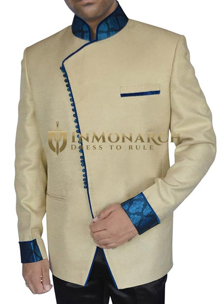Angrakha Yellow Cream Pattern 2 Pc Jodhpuri Suit