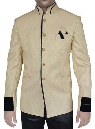 Mens Light Yellow Jute 3 Pc Jodhpuri Suit