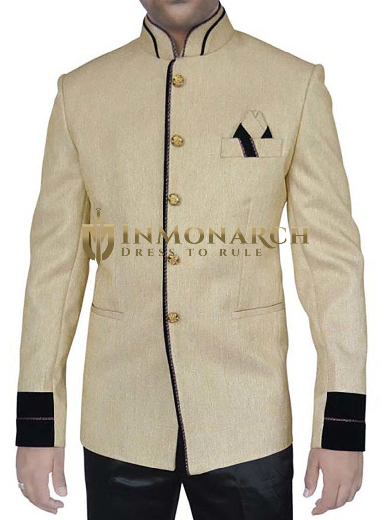 Perfect Look Groom Light yellow 3 Pc Jodhpuri Suit