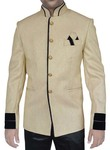 Mens Light Yellow Jute 3 Pc Jodhpuri Suit