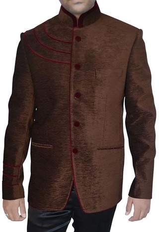 Mens Dark brown Velvet 2 Pc Jodhpuri Suit