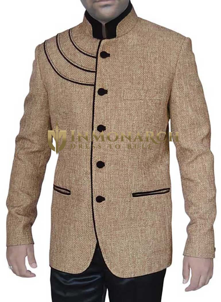 Mens Bisque Jute 2 Pc Bandhgala Wedding Suit