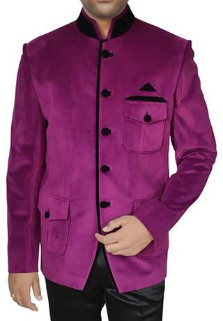 Mens Magenta Velvet 2 Pc Jodhpuri Suit
