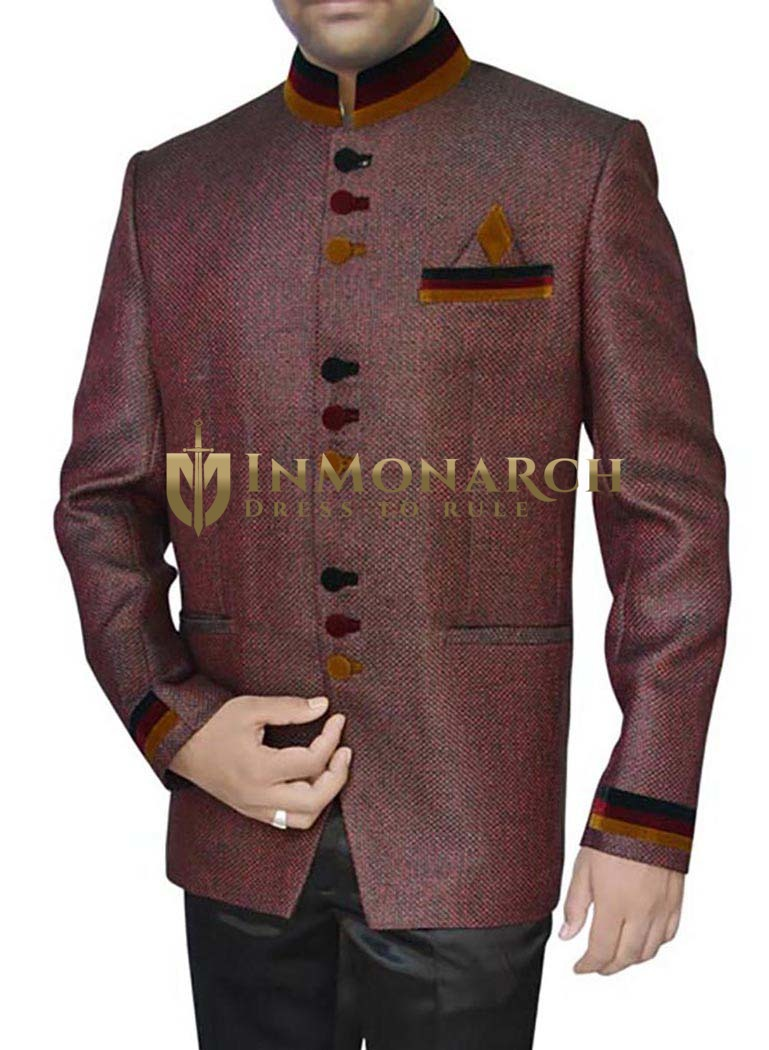 Mens Burgundy Jute 3 Pc Jodhpuri Suit