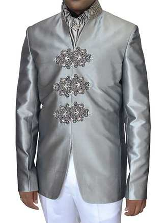 Hand Work Sharkskin Ceremonial 4 Pc Jodhpuri Suit
