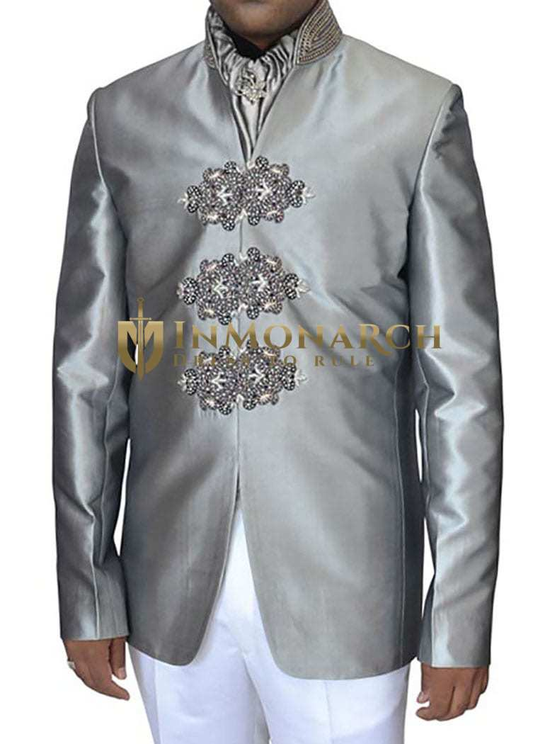 Mens Sharkskin 4 Pc Jodhpuri Suit Hand Work