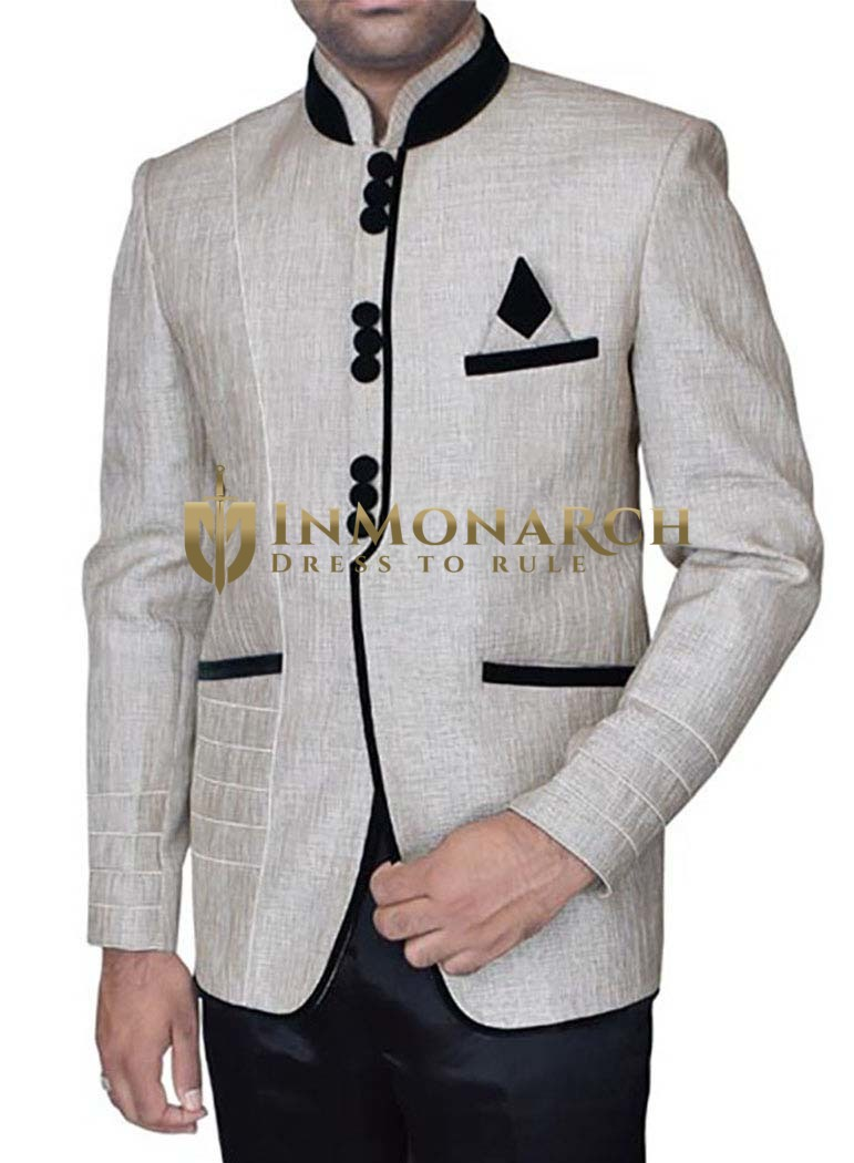Attractive Off White Desinger 3 Pc Jodhpuri Suit