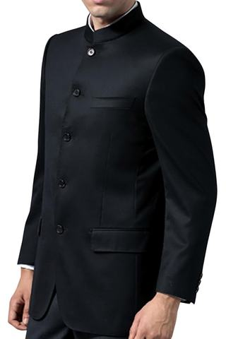 Mens Black Mandarin collar Nehru Mao jacket