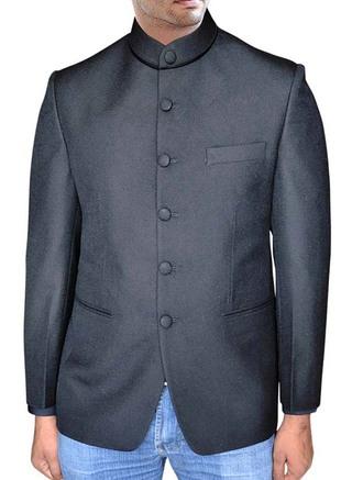 Mens Black Nehru Jacket With Collar Button