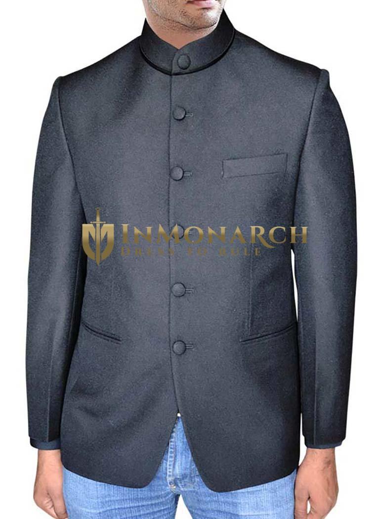 Nehru Jacket With Button On Black Collar Jacket