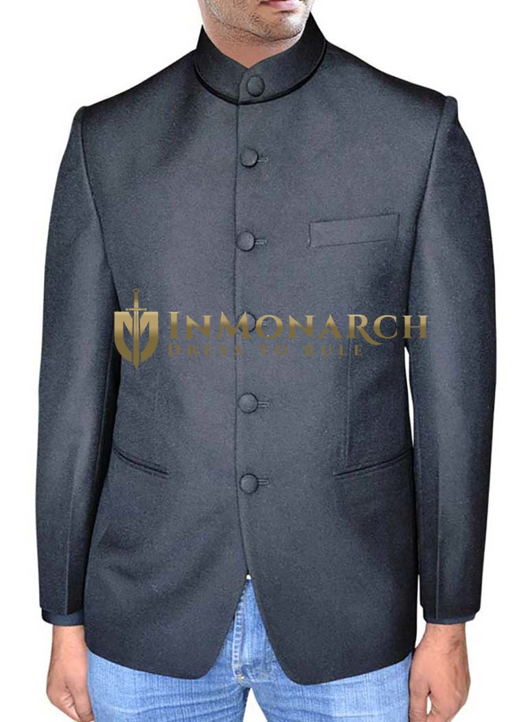 Mens Black Nehru Jacket With Collar Button