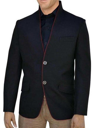 Two Button Black High Neck Nehru jacket