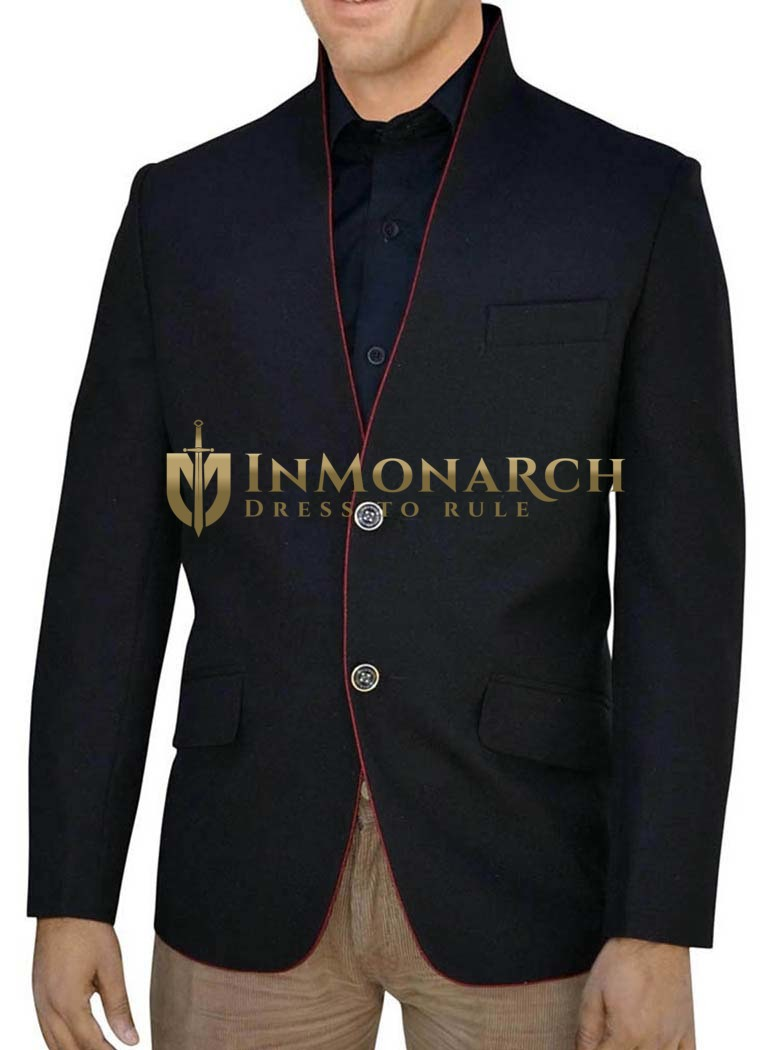 Mens Black Nehru jacket Two Button High Neck