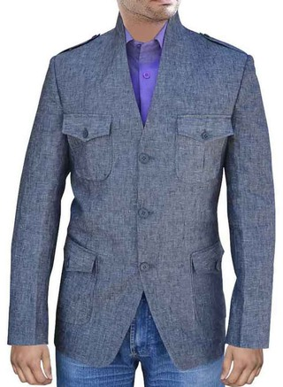 Elegant 3 Button High Neck Safari Dark gray Nehru Jacket